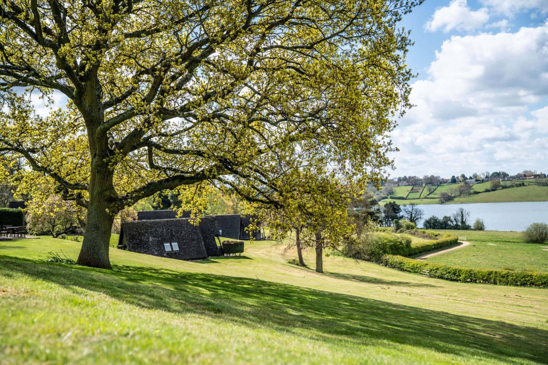 Lodges on the grounds of Rutland Hall with views of Rutland Water